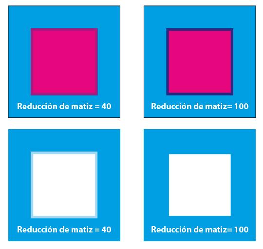 Figura 6. A la izquierda, un valor de Reducción de matiz de 40. El reventado es de un color violeta claro. A la derecha, un valor Reducción de matiz de 100; el reventado es mucho más evidente. En la parte inferior, la plancha de Cian resultante.