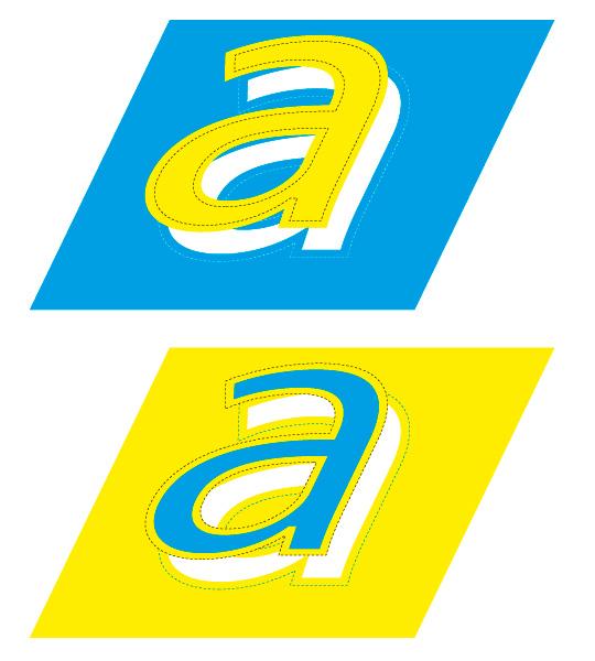 """Figura 7. Arriba, reventado de la letra """"a"""", de color claro, sobre el fondo. Abajo, reventado del fondo, de color claro, sobre la letra """"a""""."""