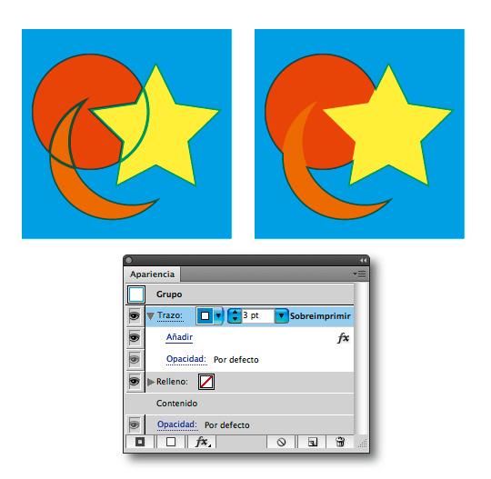 Figura 8. Reventado del fondo sobre los objetos. A la izquierda, el método tradicional. A la derecha, la forma correcta. Debajo, el panel Apariencia muestra los ajustes para obtener la figura de la derecha.