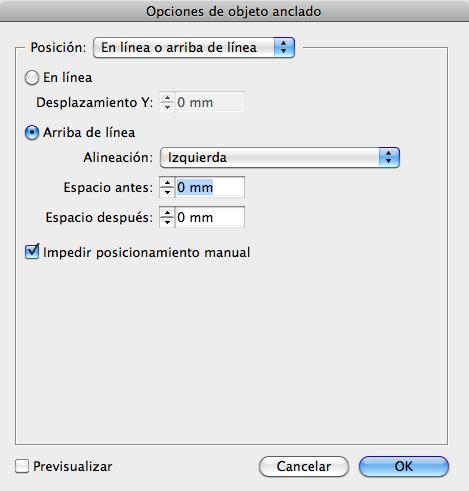 Figura 4. Opciones de objeto anclado.