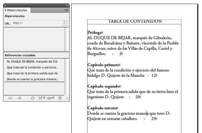 Figura 7. Creación de una Tabla de Contenidos convencional mediante la inserción de referencias cruzadas.