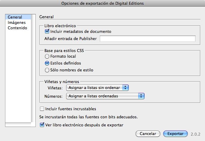 Figura 8. Pestaña General del cuadro de diálogo Opciones de exportación de Digital Editions.