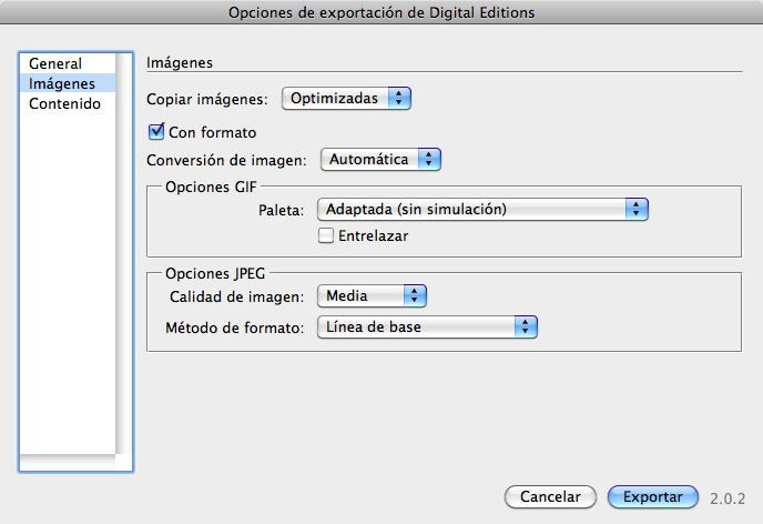 Figura 9. Pestaña Imágenes del cuadro de diálogo Opciones de exportación de Digital Editions.