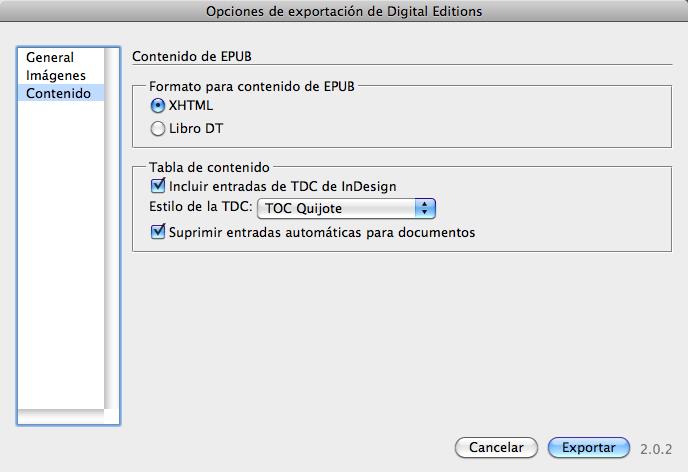Figura 10. Pestaña Contenido del cuadro de diálogo Opciones de exportación de Digital Editions.