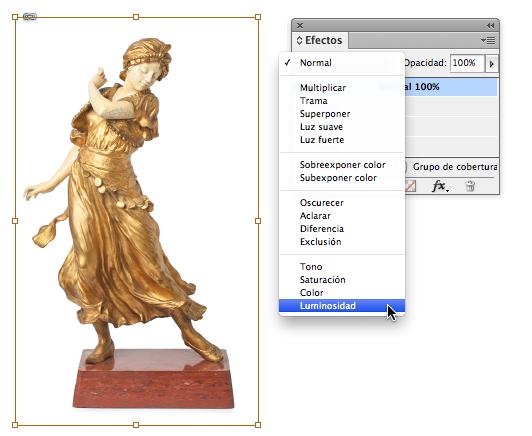 Paso 5. Selecciona la imagen con la herramienta selección directa y aplica el modo de fusión luminosidad